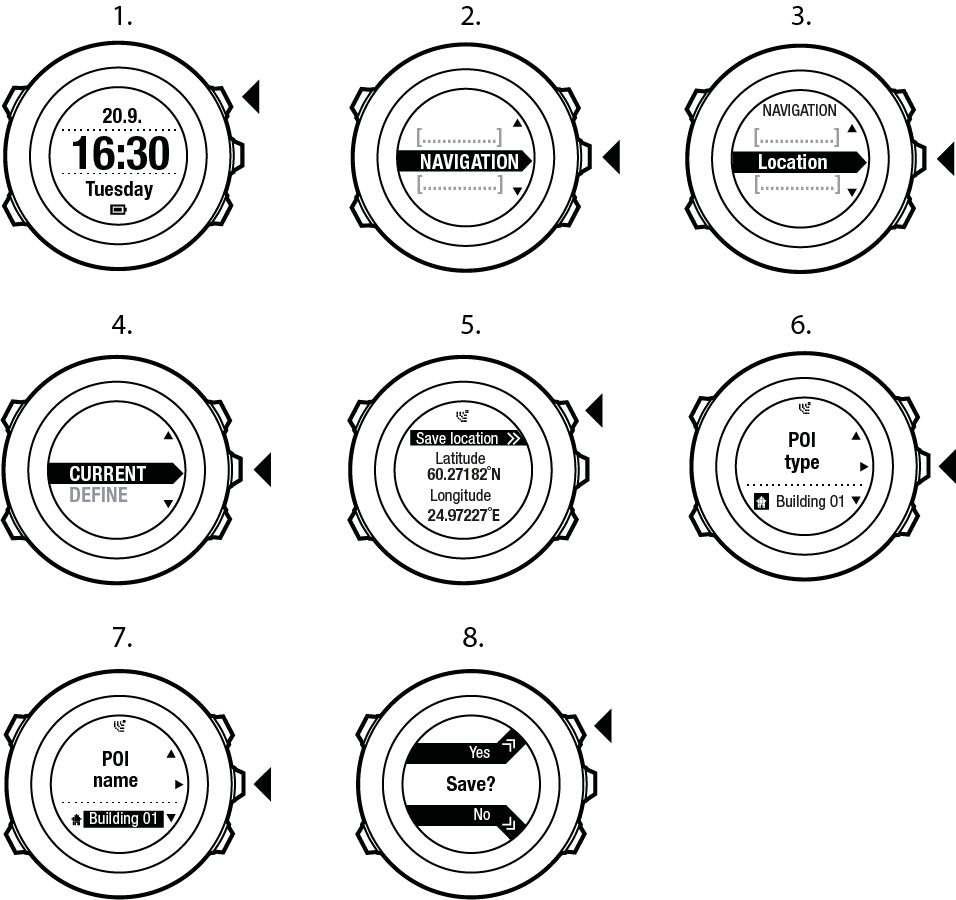 Suunto Ambit2 - Navigation - POI navigation