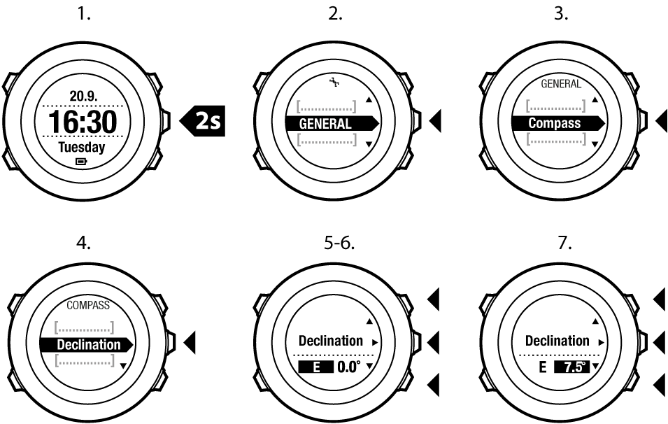 Suunto Ambit2 R - Using 3D compass - Setting declination value