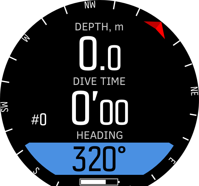 Freedive sompass before dives D5