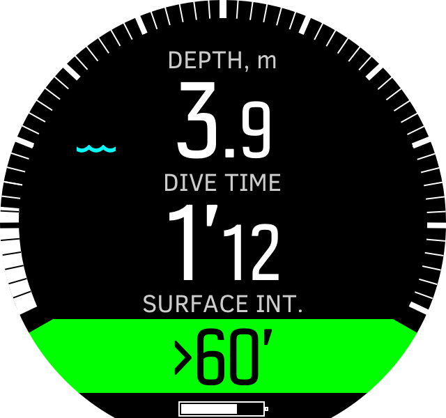 Freedive time during dive D5