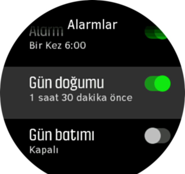 SunriseSunset alarm toggle Spartan