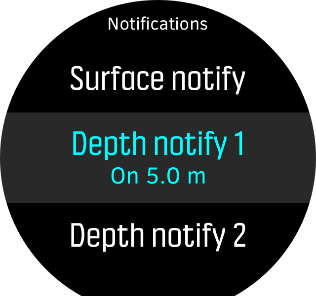 Menu freedive notify D5