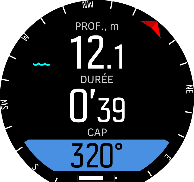 Freedive compass during dives D5