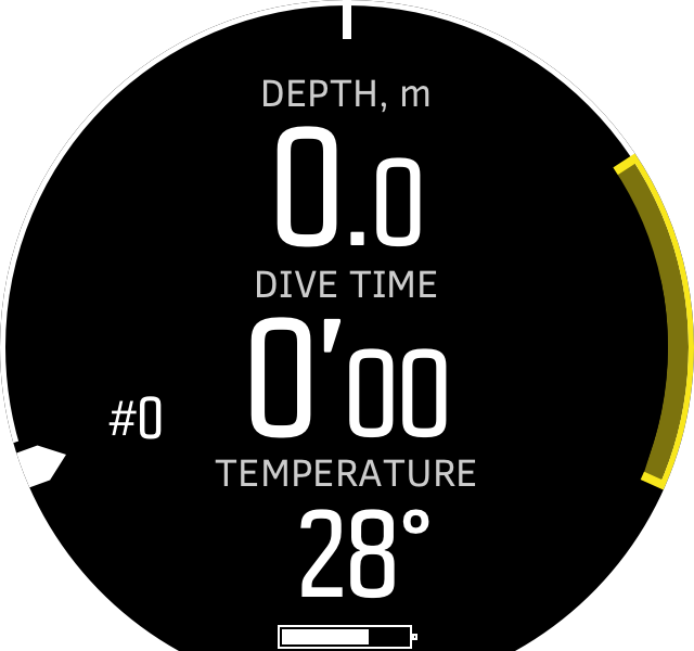 Freedive depth before dive D5