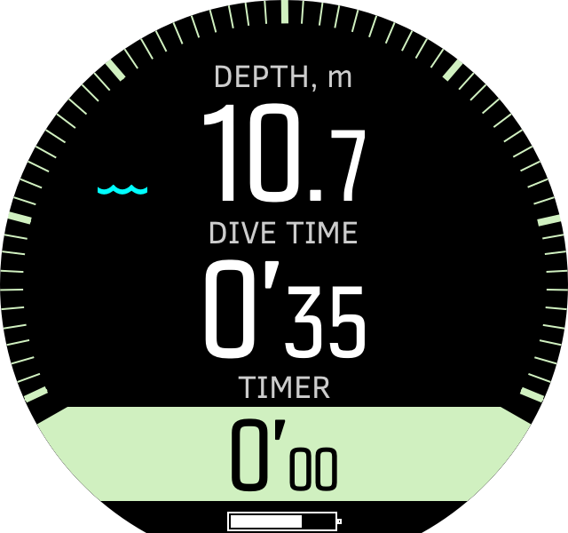 Freedive timer during dives D5