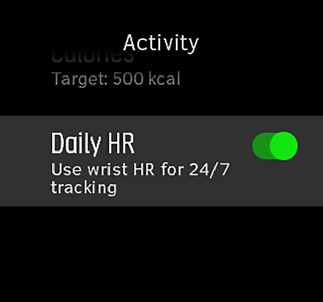 Daily HR setting