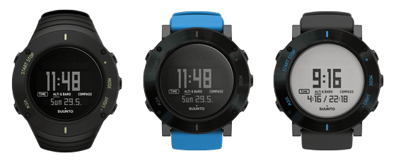 Suunto Core Ultimate Black, Suunto Core Blue Crush und Suunto Core Graphite Crush