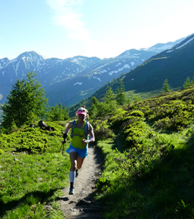 Laura running in the mountains