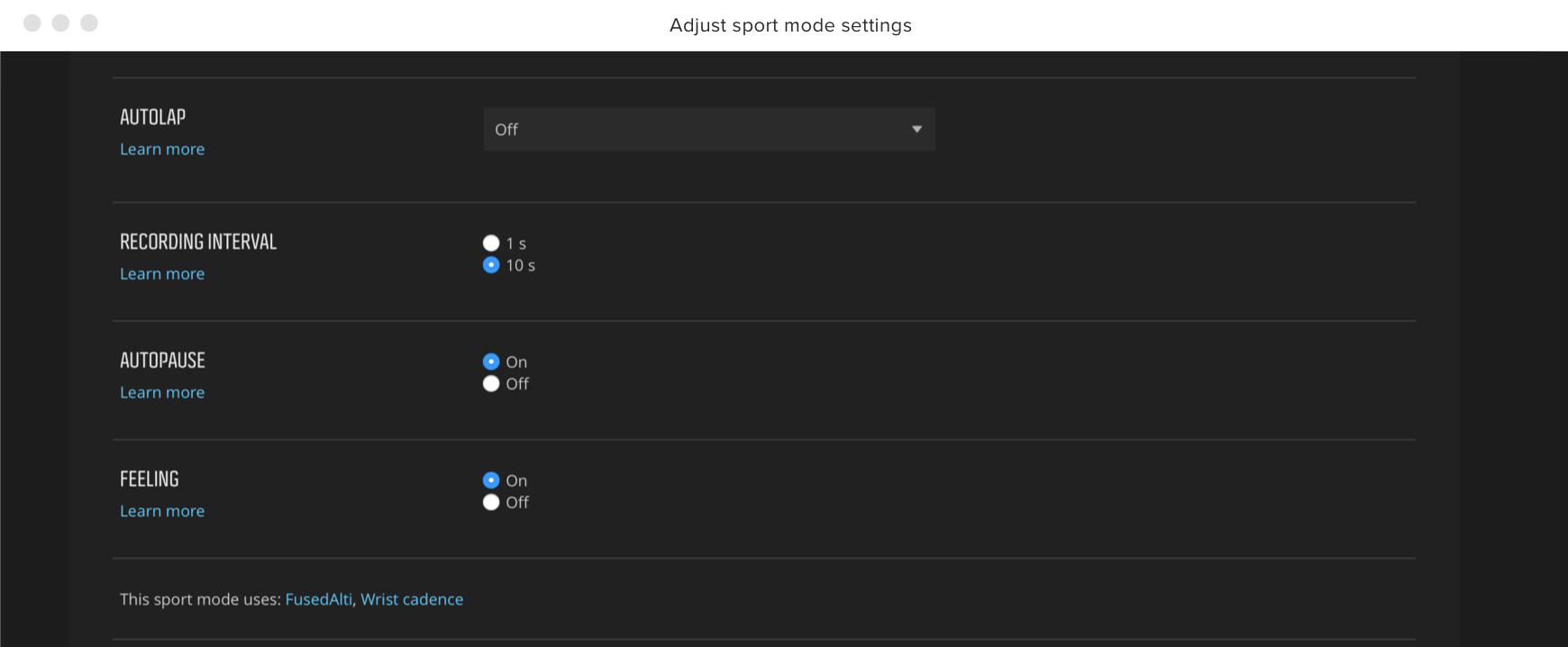Customize the sport mode settings, too