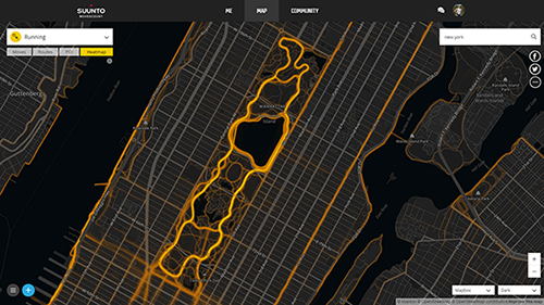 Heatmap reveals popular running spots on the area.