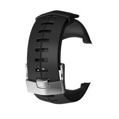 Suunto DX black silicone with silver buckle strap kit