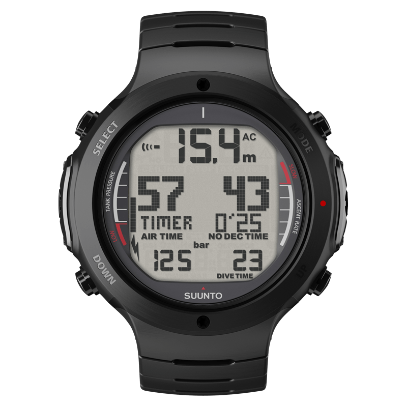 Suunto d6i all black steel dive features in rugged steel for Dive computer sale