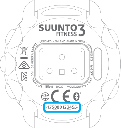 Serial number Suunto 3 Fitness
