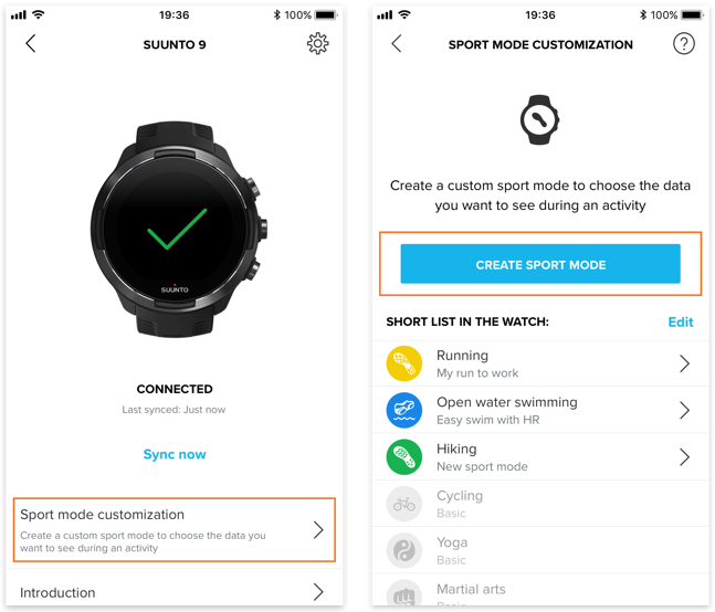 How to create a custom sport mode in Suunto app