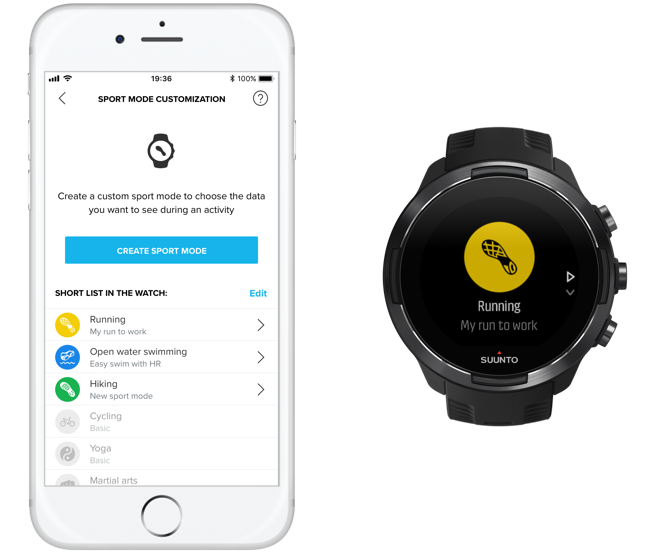 Sport mode customization with Suunto app