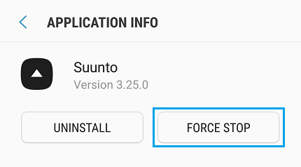 Force stop Suunto app.