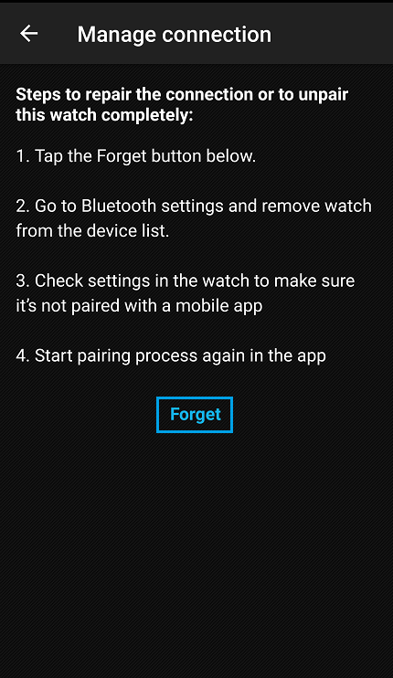 Forget watch from Suunto app.