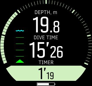Suunto D5 - diving in gauge mode