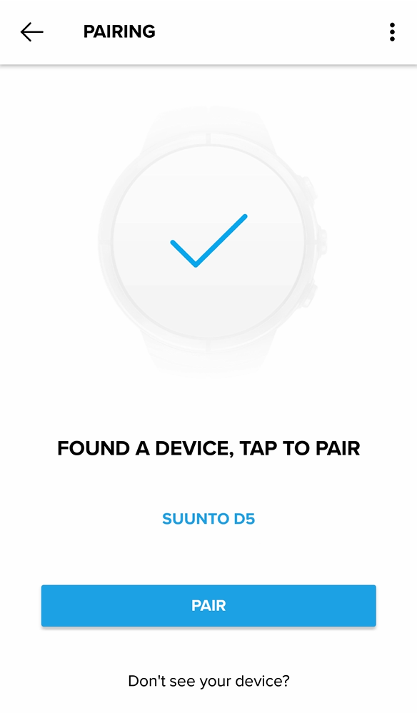 Select Suunto D5 to pair to Suunto app for Android