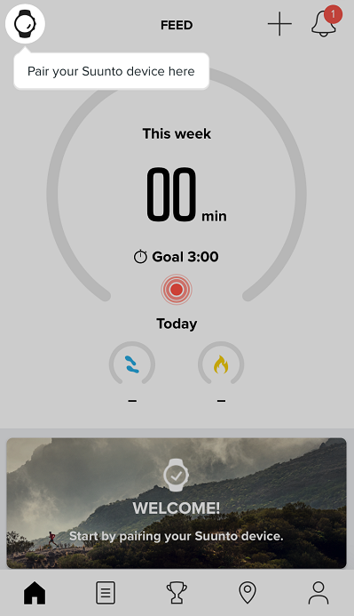 Tap the watch icon to pair Suunto  D5 with Suunto app for iOS