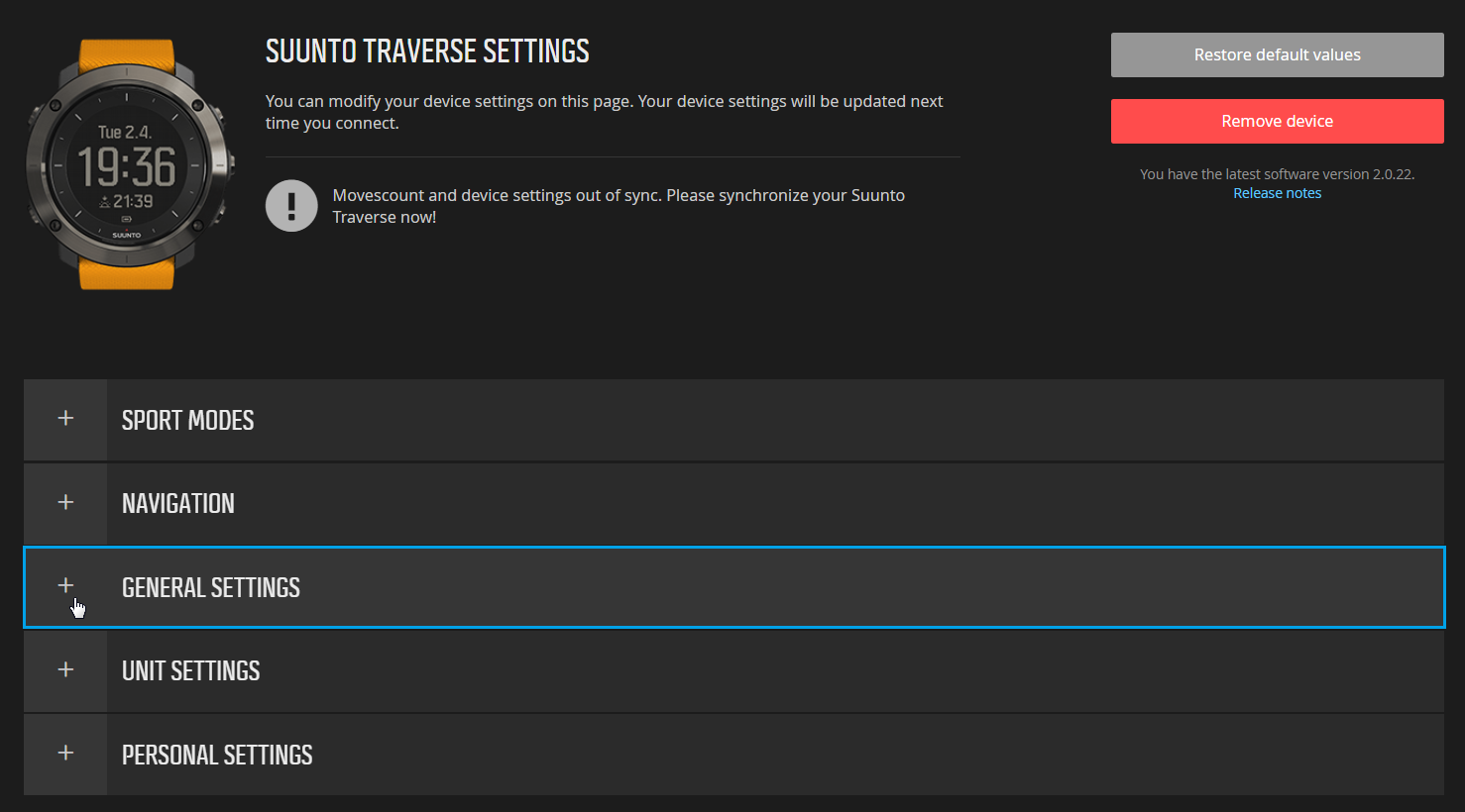 Movescount - General settings for Suunto Traverse