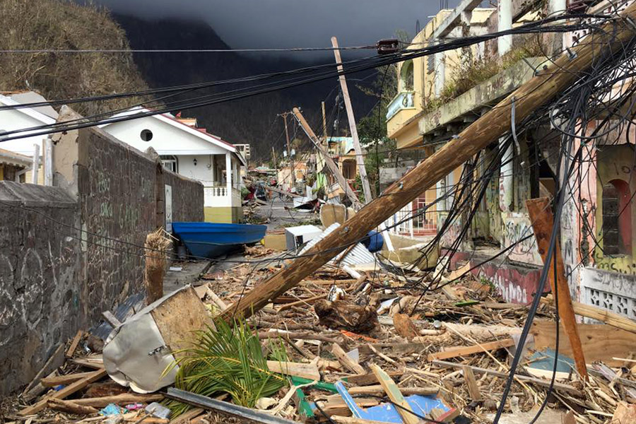 Hurricane Maria hit Dominica in September. Photo by Johnny Sunnex