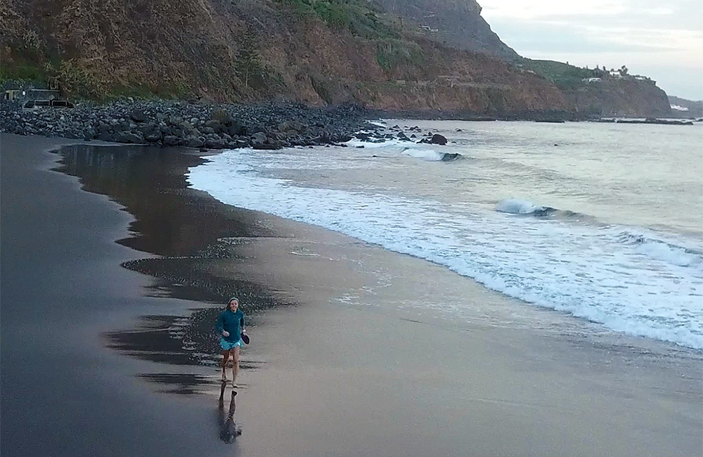 Emelie Forsberg's morning run on the beach. Tenerife, Spain.