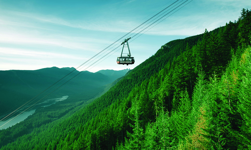 The Grouse Grind is an iconic trail up the face of Grouse Mountain, overlooking Vancouver, British Columbia, Canada.