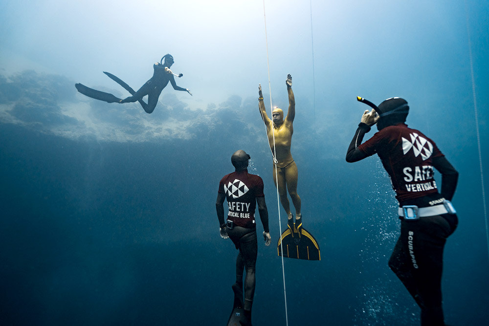 Freediver Alexey Molchanov of Russia at the Vertical Blue