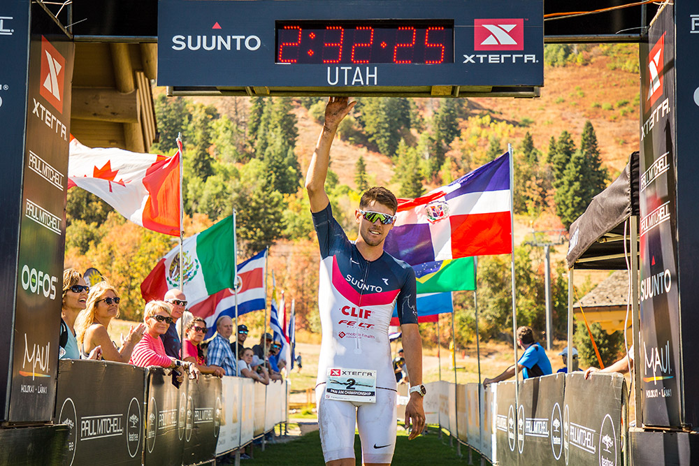 Karsten Madsen crossing the line at the PanAm Championhips in Ogden, Utah