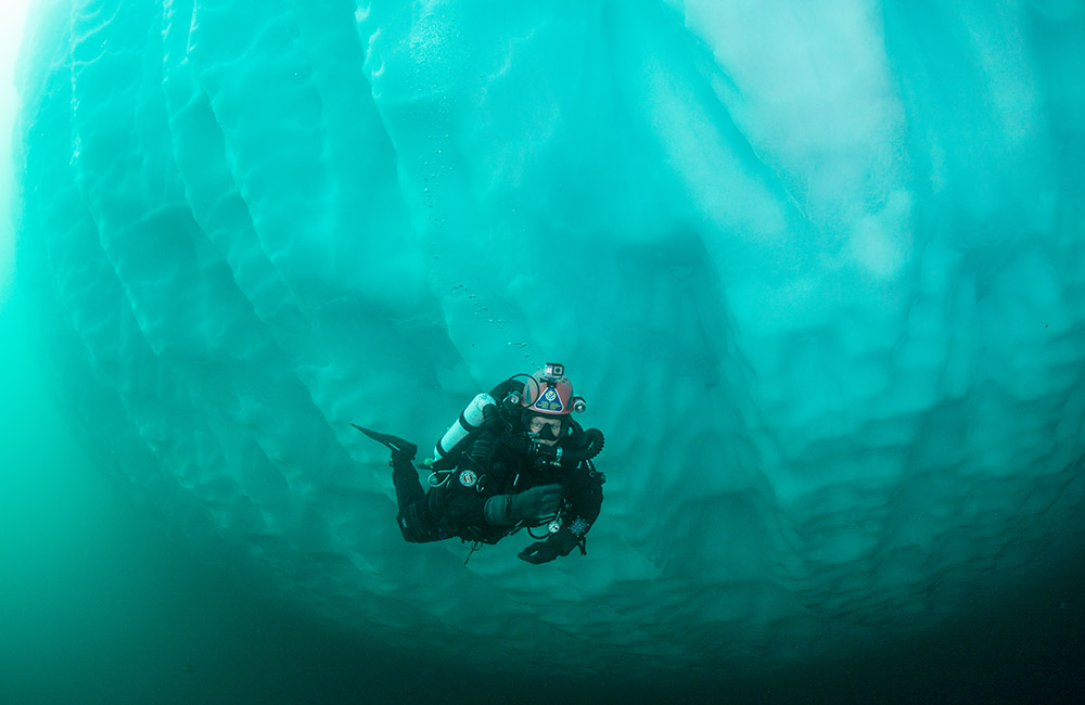 Diving the icy waters, around ice bergs and under the ice