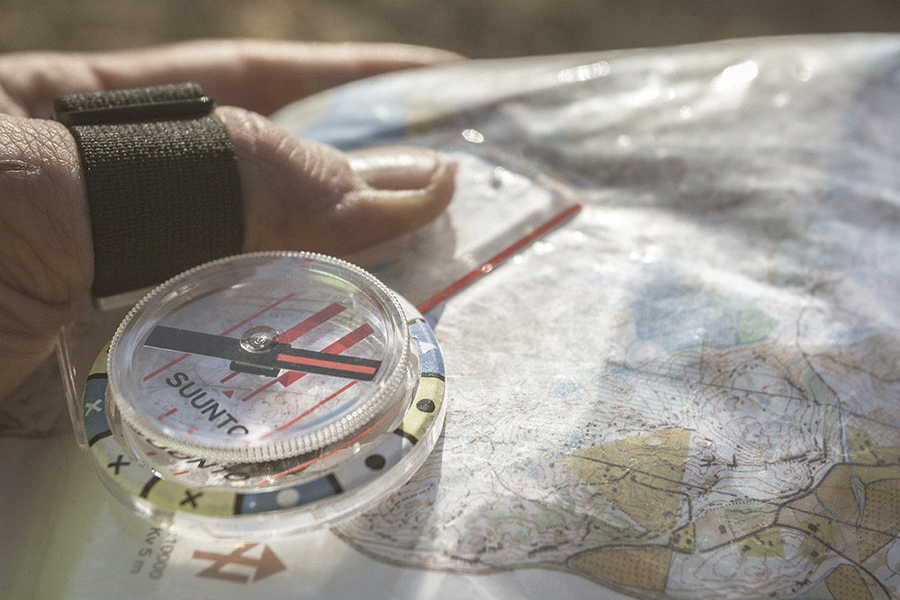 A thumb compass is faster than a traditional baseplate compass.