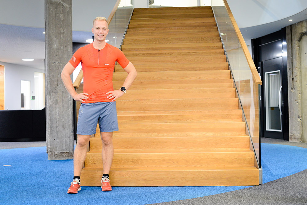 Matias sees stairs as on opportunity to stay active.