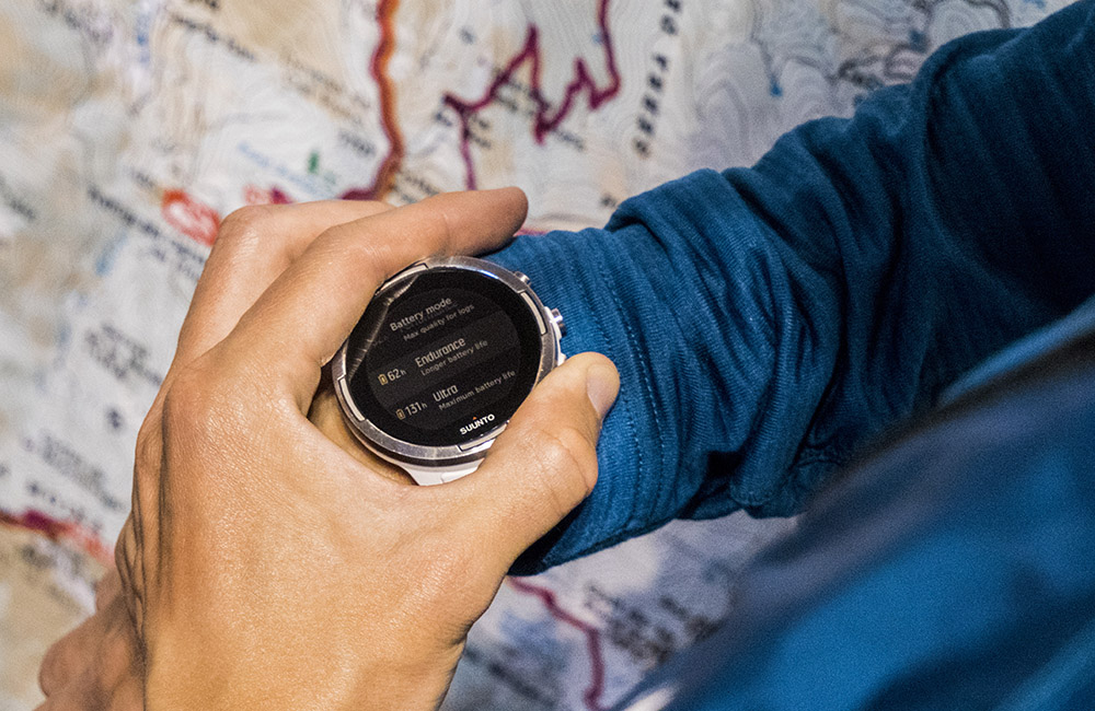 Suunto 9 has three predefined battery modes – Performance, Endurance and Ultra – that give you up to 120 hours of GPS tracking time.