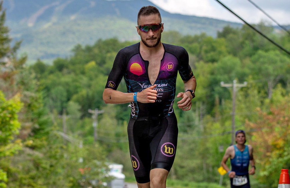 Cody on his way to a win at Ironman Mont Tremblant in August. (© Talbot Cox)